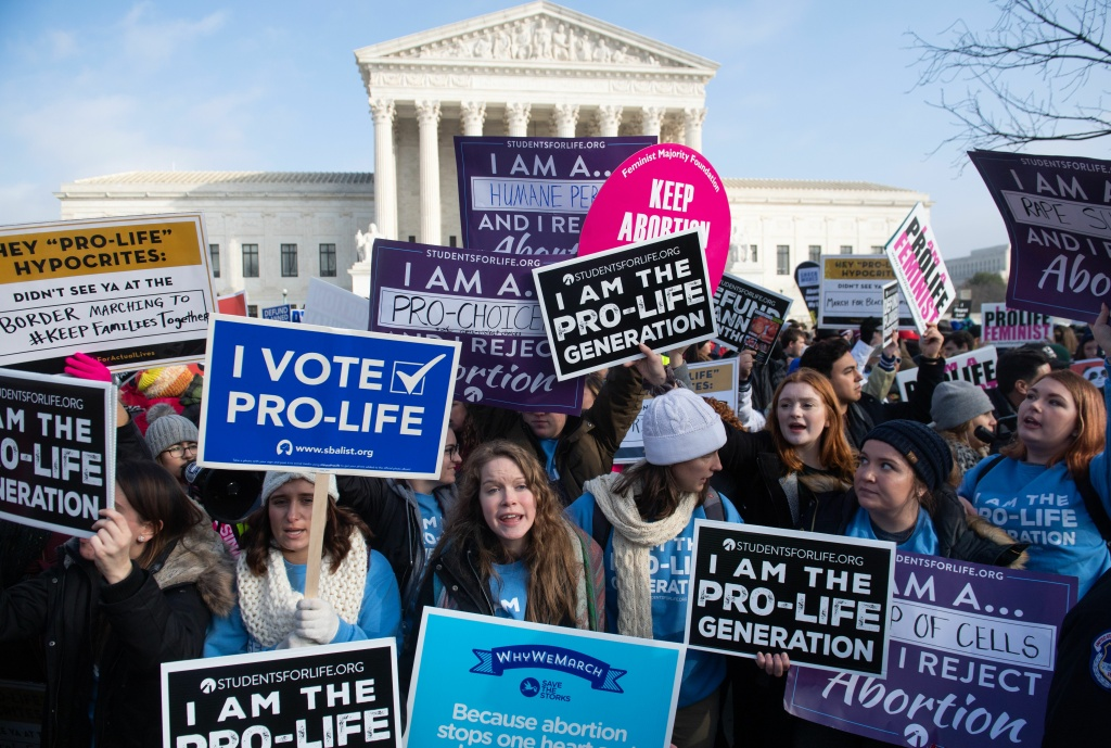 Pro-life activists hold signs outside the US Supreme Court in Washington, DC