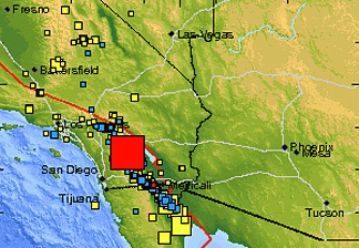 A 5.4 magnitude, 13 miles North-NorthWest of Borrego Springs, CA.