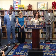 California Attorney General Kamala Harris unveils a report on chronic absences among elementary school students.