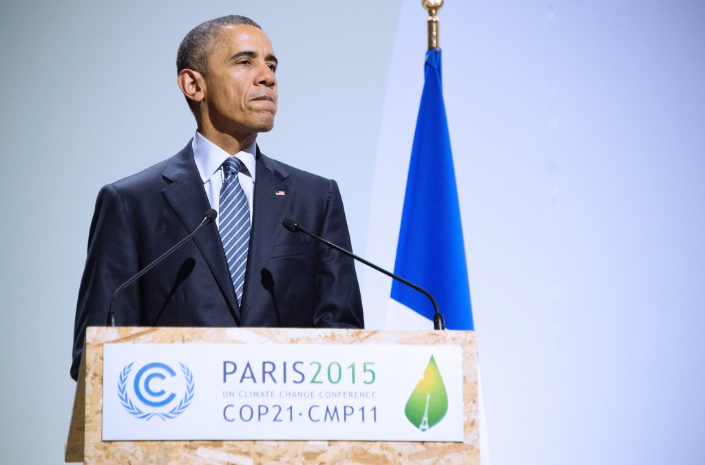 US President Barack Obama addresses the opening ceremony of the World Climate Change Conference 2015 (COP21.