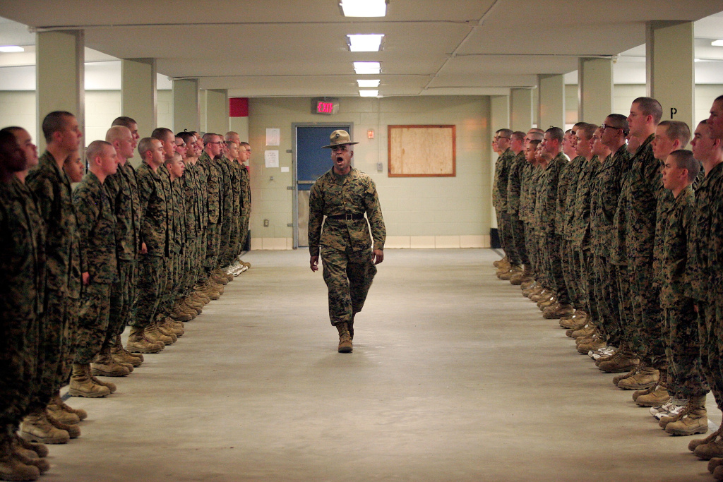 United States Marine Corps senior drill instructor Staff Sergeant Hugo Cherena (C) of Waterbury, Connecticut addresses his recruits during boot camp in 2007. The Commerce Department reported Wednesday that the U.S. economy shrank from October through December for the first time since the recession ended, hurt by the biggest cut in defense spending in 40 years.
