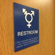 The gender-neutral door to the bathroom at the endocrinology wing at Kaiser Permanente in Los Angeles. The sign is designed to make all patients, including transgender patients, comfortable.