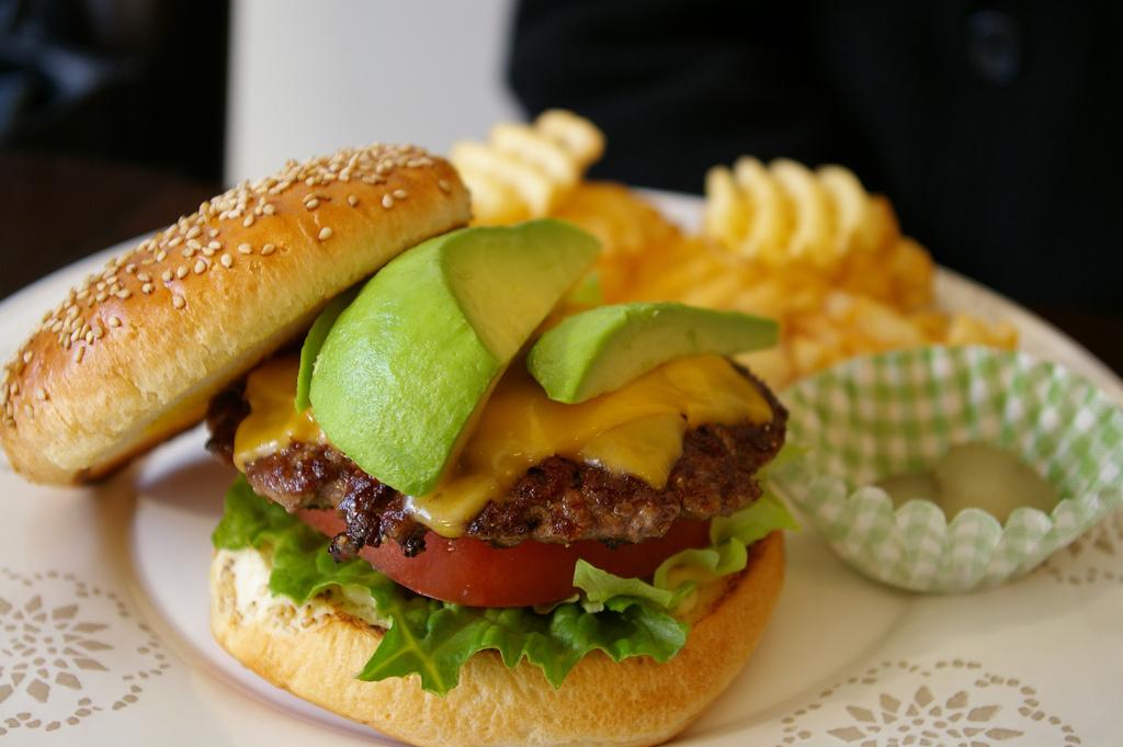 An avocado burger.
