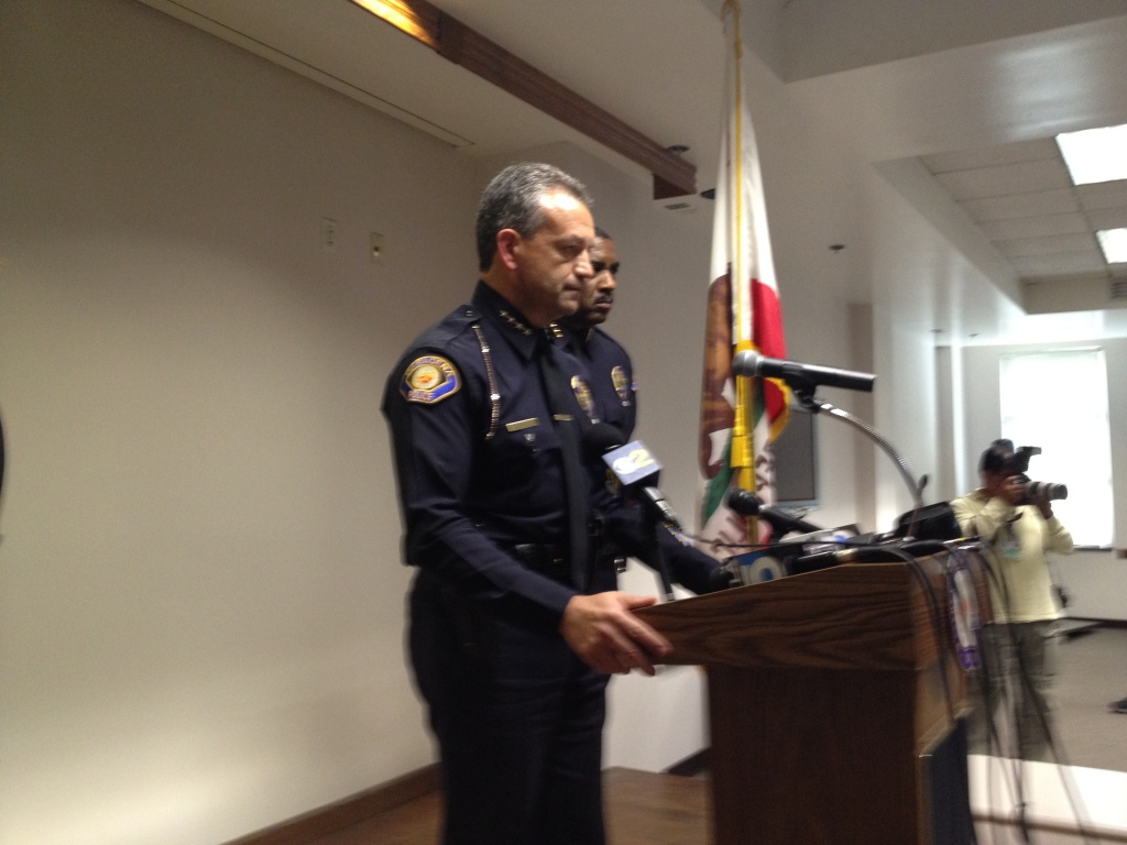 Pasadena Police Chief Phillip Sanchez address the March 2012 police shooting of Kendrec McDade, 19, at a news conference.