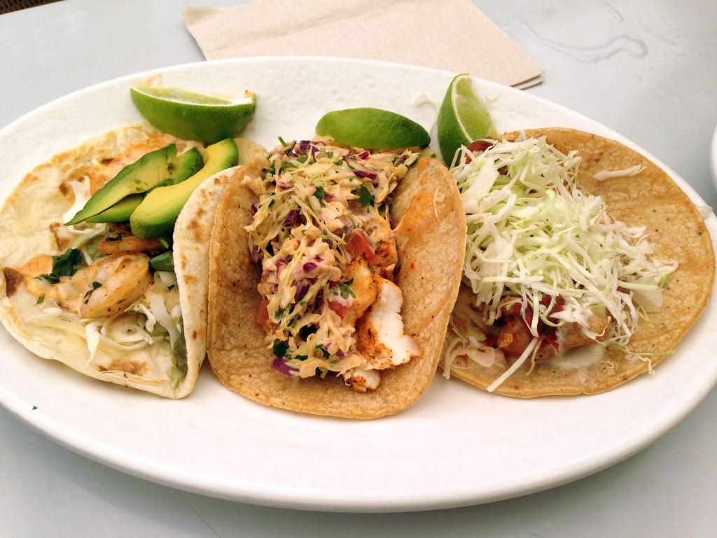 A platter of fish and shrimp tacos at a Rubio's restaurant in San Diego.