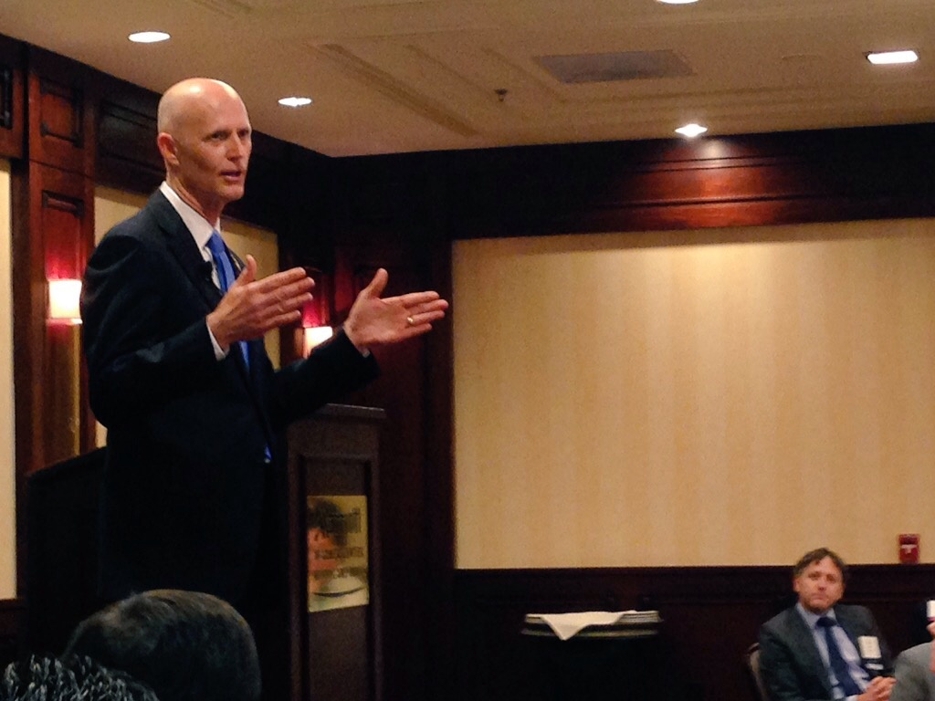 Florida Governor Rick Scott spoke to a gathering of business leaders in Woodland Hills and part of his two-day trip to California.