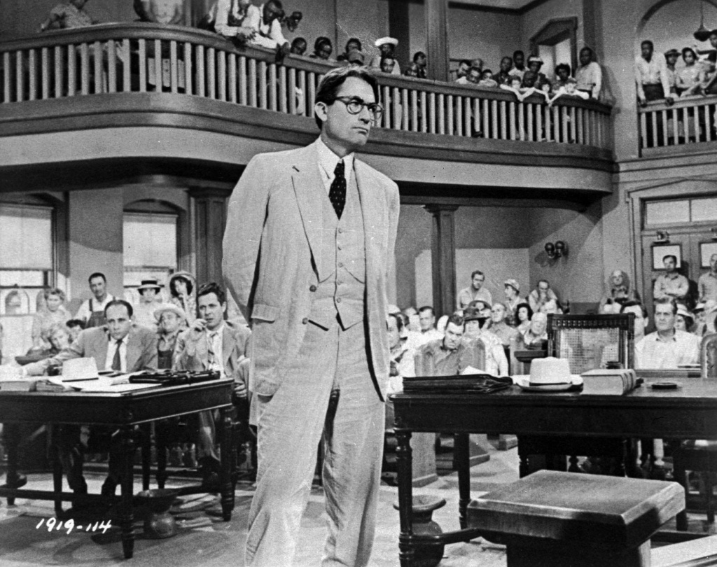 In this file photo, Gregory Peck is shown as attorney Atticus Finch, a small-town Southern lawyer who defends a black man accused of rape, in a scene from the 1962 movie