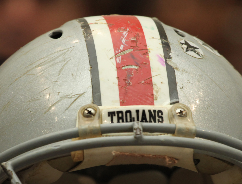 Football helmet of the late Owen Thomas, a former University of Pennsylvania football player, brought to a recent congressional hearing on football and brain trauma