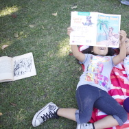 File photo: Lorne Street Elementary students had to grab books from a book bin after their library was closed during the recession.