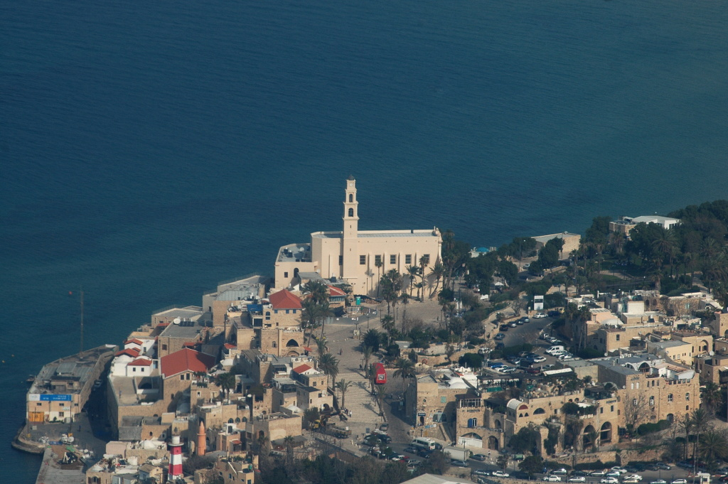An aerial view taken on January 11, 2010 shows the ancient port city of Jaffa, south of Tel Aviv, on January 11, 2010.