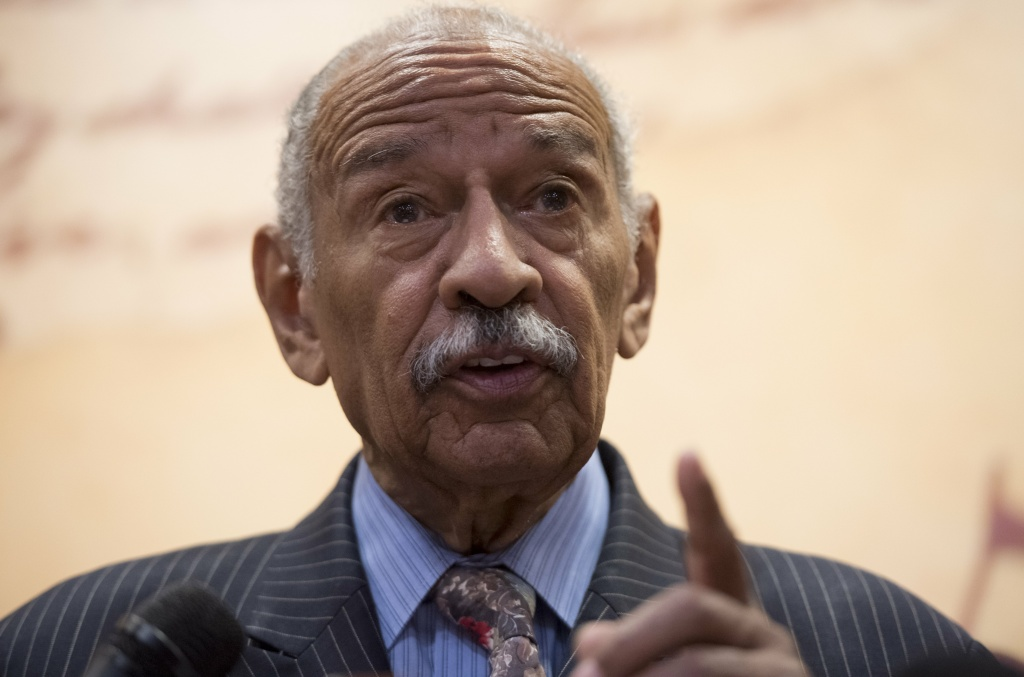 US Representative John Conyers, Democrat of Michigan, speaks during a press conference on Capitol Hill in Washington, DC, June 20, 2017.
