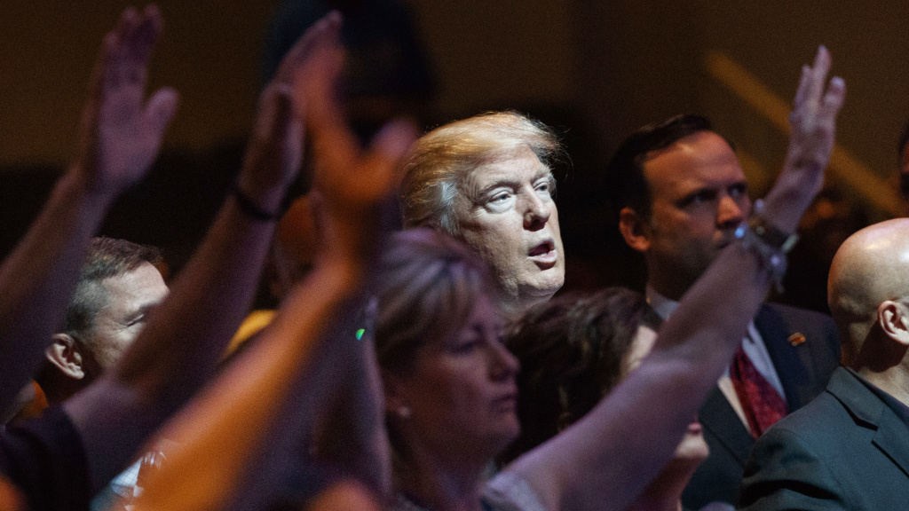 Donald Trump seen during at a church in Las Vegas in October 2016. White evangelicals fueled his campaign, but some now worry about recent sex scandals and the affect they could have on the midterms.