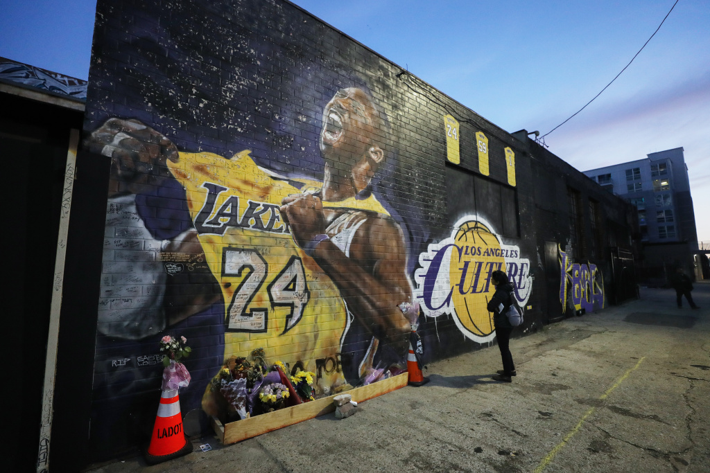 A mural depicting deceased NBA star Kobe Bryant, painted by Jonas Never, is displayed on a building in Los Angeles, California.