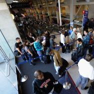 Passengers waiting to go through security checkpoints at LAX