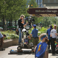 A film crew shoots in front of the Hilton Hotel on Michigan Avenue on September 12, 2013 in Chicago, Illinois.