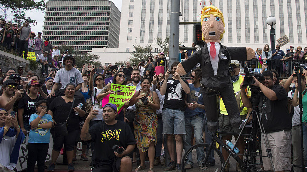 A protest against President-elect Donald Trump in Los Angeles last month. Democrat Hillary Clinton drew 61 percent of the vote versus Trump's 31 percent in the country's most populous state.