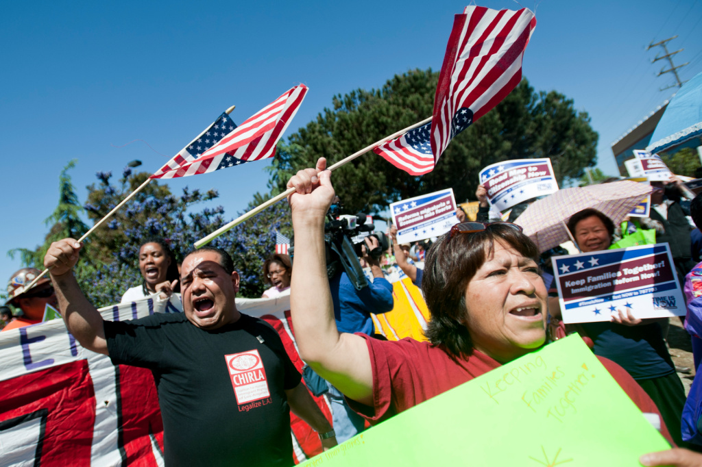 Immigration reform supporters march last year in Los Angeles. An immigration reform template expected this week from House Republicans is likely to call for a path to legal status for unauthorized immigrants, but not U.S. citizenship.