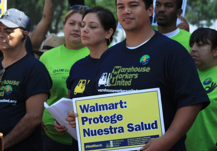 Ralliers show support for warehouse workers who completed a six-day march from Ontario to Los Angeles on Tuesday. The workers protested unsafe working conditions at a Walmart distribution center in the Riverside area.