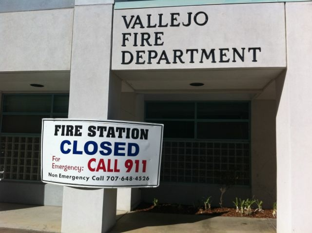 A fire station sits empty,  forced to close because of city's bankruptcy,  July 2012.