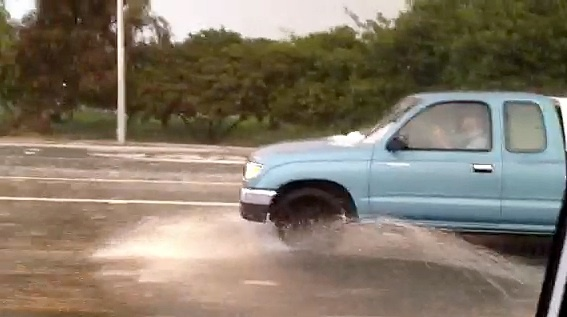 Driving in the rain during hail and lightning on the 710 Freeway Thursday afternoon, Dec. 15, 2011.