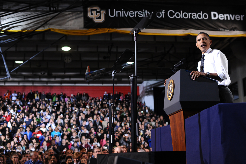 In this file photo, U.S. President Barack Obama speaks on the steps the administration is taking to increase college affordability by making it easier to manage student loan debt at the Colorado University in Denver, Colo., in 2011. The public will get a chance to discuss the initiative at a series of public fora, the first being held at Cal State Dominguez Hills Wednesday, Nov. 6, 2013.