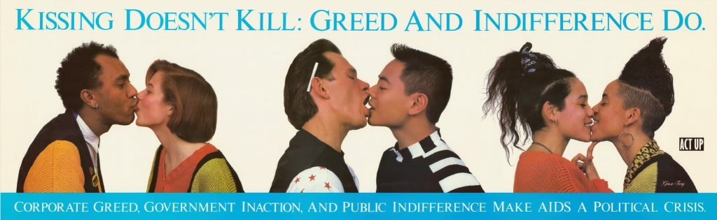 A poster created around 1989-90 by the AIDS activist organization ACT UP features different couples kissing.