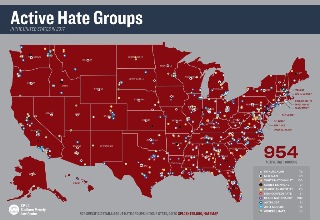 Still image of the Southern Poverty Law Center's Hate Map, which illustrates the name and location of hundreds of hate groups across the United States.