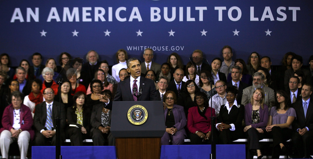 U.S. President Barack Obama delivers remarks on the economy February 1, 2012 at the James Lee Community Center in Falls Church, Virginia.