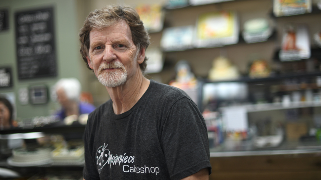 Baker Jack Phillips, owner of Masterpiece Cakeshop, manages his shop in Lakewood, Colo., on Wednesday. He's suing state officials in a case involving his refusal to make a case celebrating gender transition.