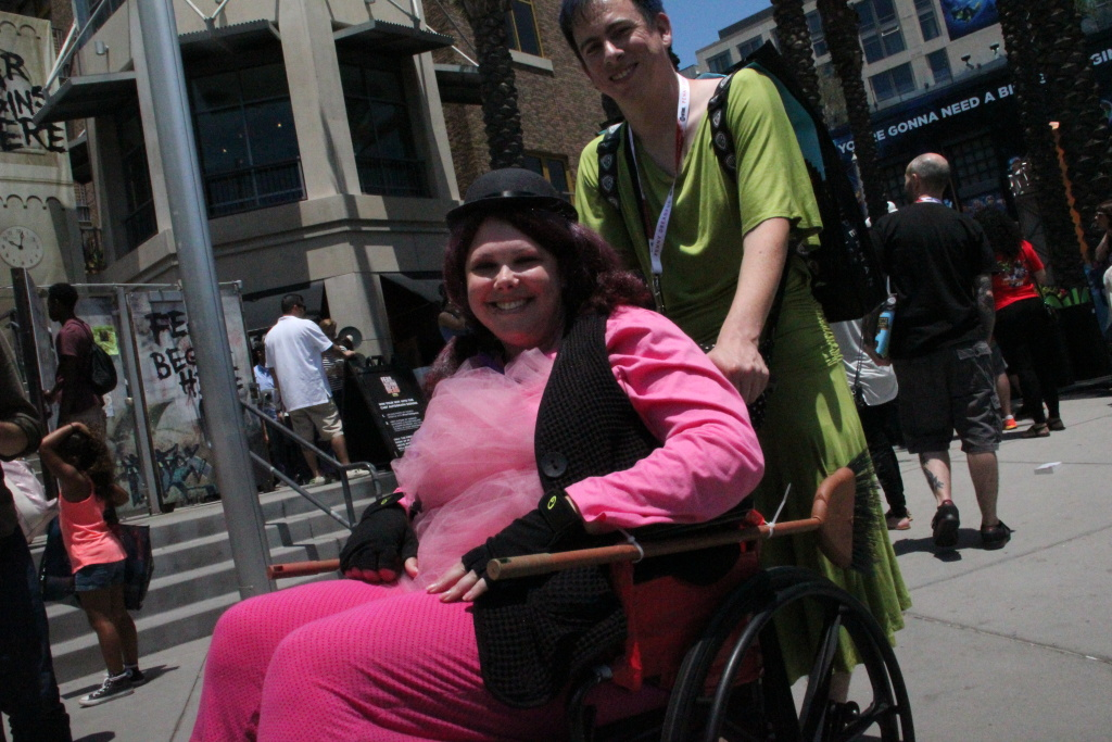 Cosplayers Carly Shadrick and Bryan Suarez attend Comic-Con 2015 as Bing Bong and Joy from Pixar's