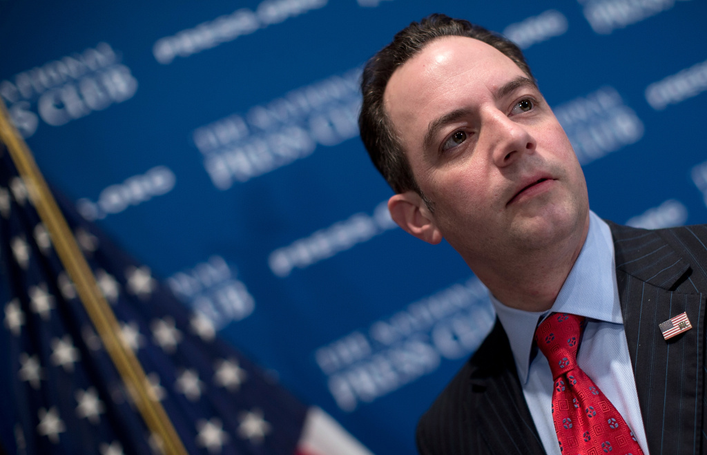 Republican National Committee Chairman Reince Priebus talks with members of the press after speaking at the National Press Club March 18, 2013 in Washington, DC. During his remarks on a recent