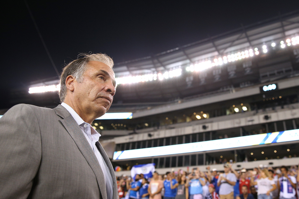 Former head coach Bruce Arena of the the United States looks on before playing against El Salvador during the 2017 CONCACAF Gold Cup Quarterfinal at Lincoln Financial Field on July 19, 2017 in Philadelphia, Pennsylvania.