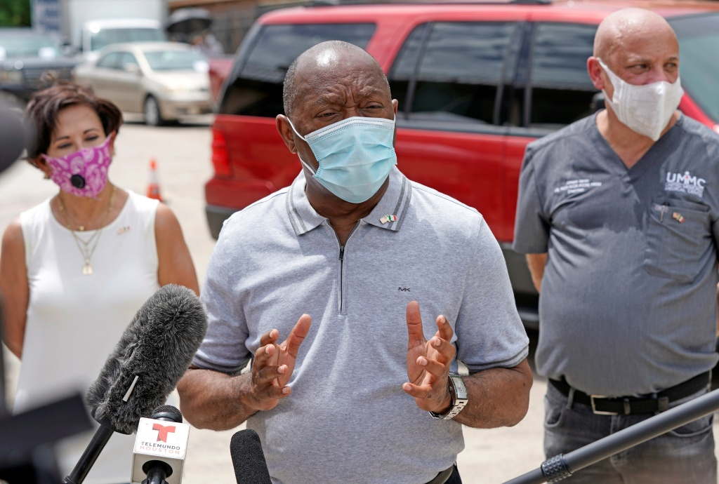 Houston Mayor Sylvester Turner speaks at free COVID-19 testing provided by United Memorial Medical Center at the Mexican Consulate Sunday, June 28 in Houston.