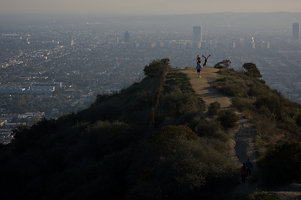 Hikers come to an expansive overview in Runyon Canyon