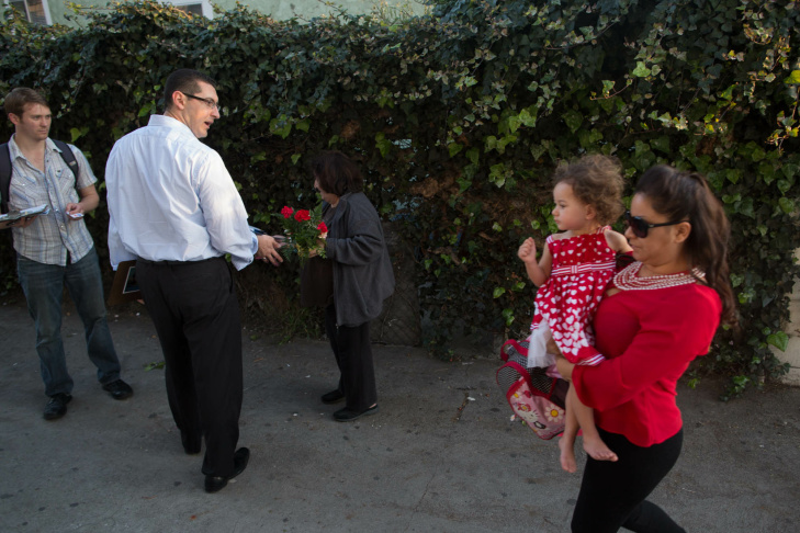 Mayoral candidate Emanuel Pleitez sprints through the streets of Pico-Union. The former tech executive will run 100 miles through the streets of Los Angeles in the final week of his campaign.