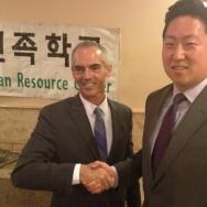 Mitch O'Farrell (L) and John Choi