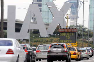 A checkpoint inspecting vehicles entering LAX.