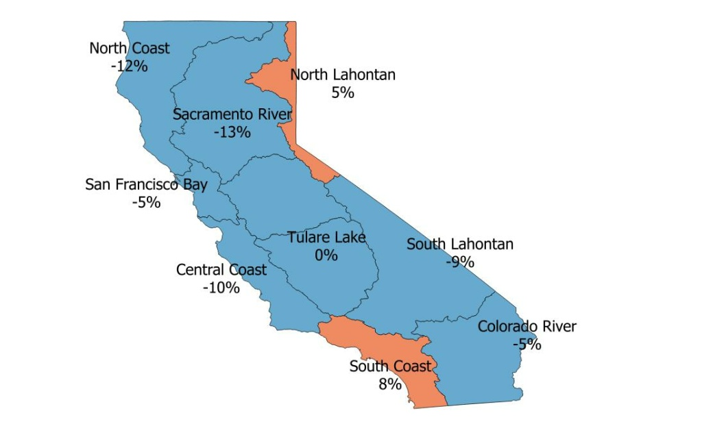 The adjacent map breaks the state into hydrologic regions and shows May water use in California compared to the average use over the previous three Mays. Overall the state used 1% more water compared to the three-year average.