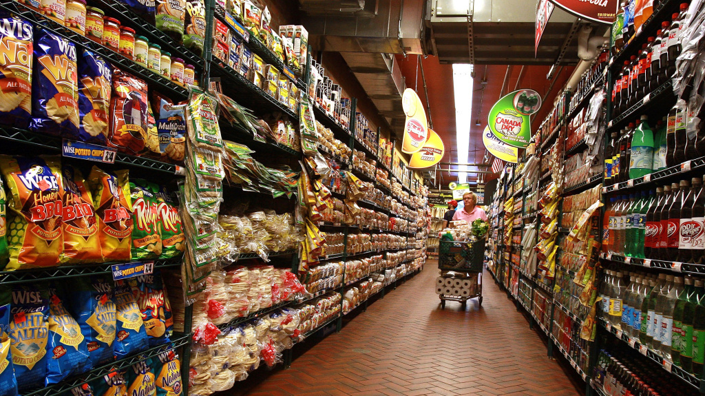 A woman shops at a supermarket in New York City.