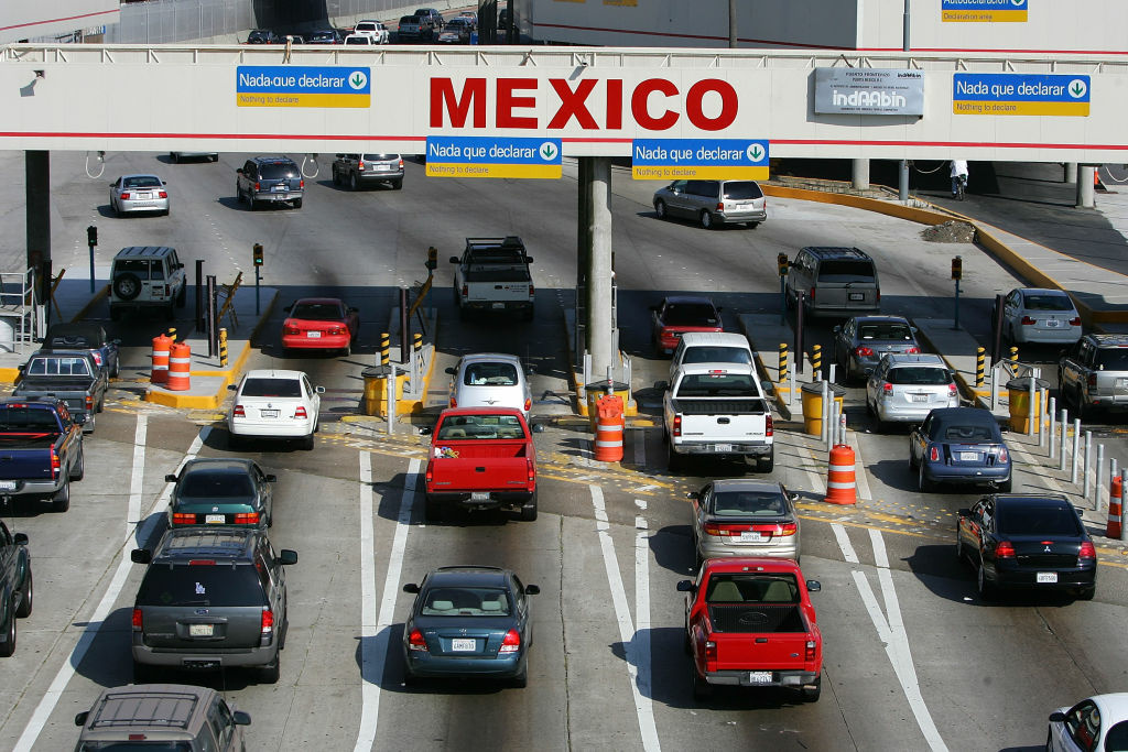 Traffic in the US enters Mexico at the San Ysidro border crossing, the world's busiest, on June 27, 2008 in Tijuana, Mexico.