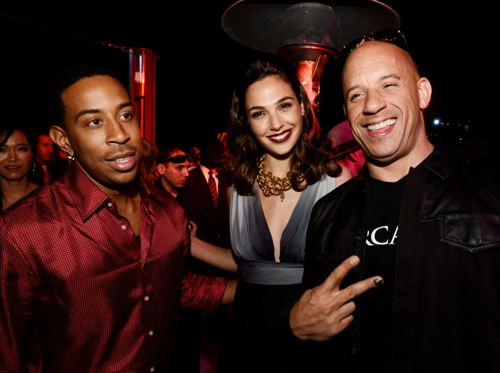 (L-R) Actor/rapper Chris 'Ludacris' Bridges, actress Gal Gadot and actor/producer Vin Diesel pose at the after party for the premiere of Universal Pictures'