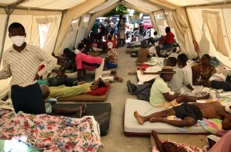 Wounded people in the Cite Soleil'S MSF center in Port au Prince on January 16, 2010 following the 7.0-magnitude quake on January 12. More than 50,000 people were killed and 250,000 injured by the earthquake, which also left nearly 1.5 million homeless, a Haitian minister said.