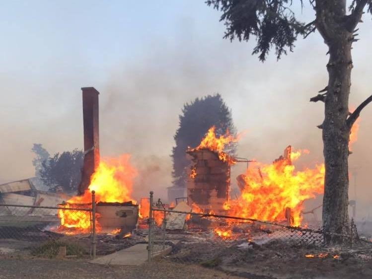 In this photo from the Whitman County Sheriff's Office, little remains of a building in Malden, Wash. A fast-moving wildfire destroyed 80% of the town on Labor Day.