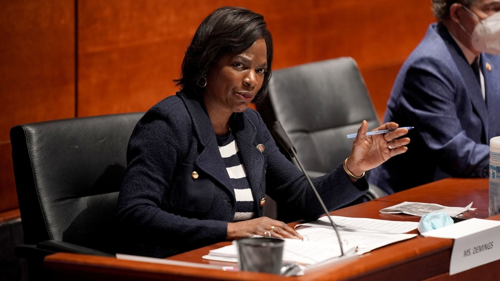 Rep. Val Demings, D-Fla., asks questions during a House Judiciary Committee hearing on police brutality and racial profiling. The former Orlando police chief is a potential running mate for presumptive Democratic presidential nominee Joe Biden.
