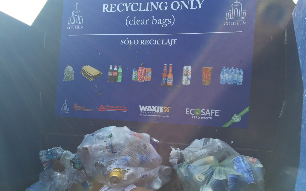 An official at the LA Memorial Coliseum says they have reached a milestone: zero waste after football games.