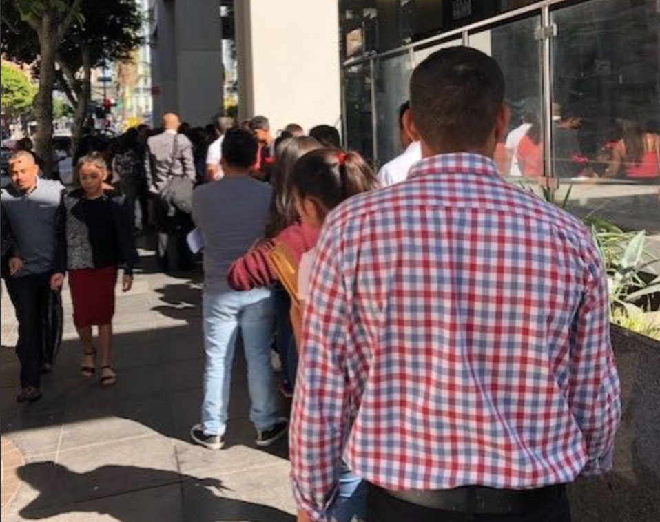 A line outside the immigration court building in downtown Los Angeles on Thursday, Oct. 31, 2018.