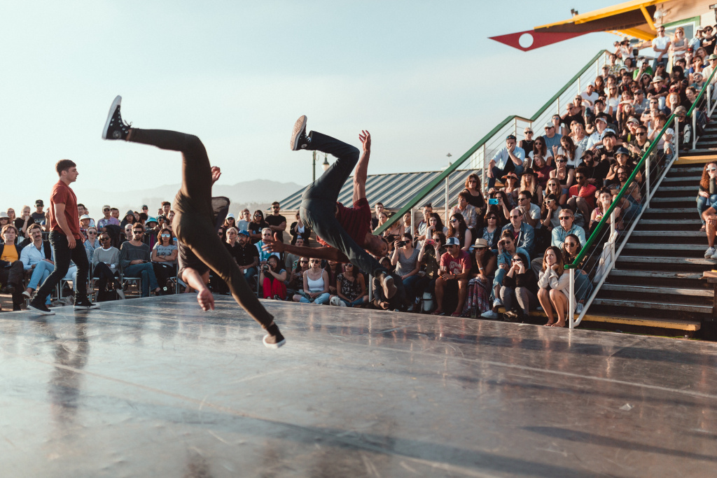 Dancers from Jacob Jonas The Company perform on the Santa Monica Pier during 2017's To the Sea: Dance Concerts on the Pier event, which is part of the Dance + Camera Festival.