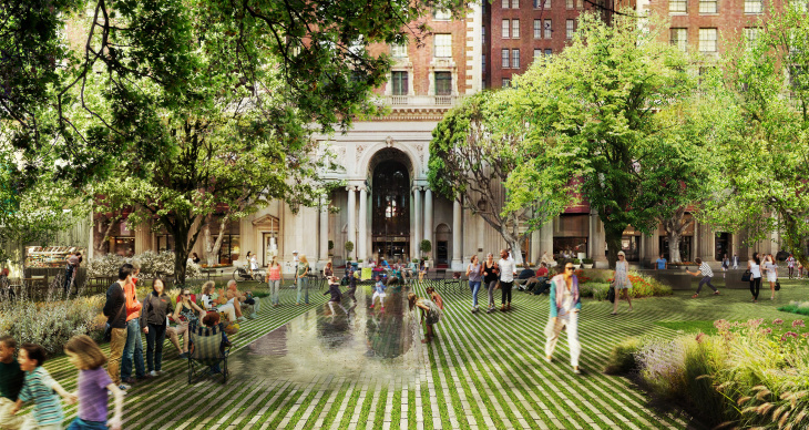 A rendering of the winning design for the new Pershing Square in downtown L.A.