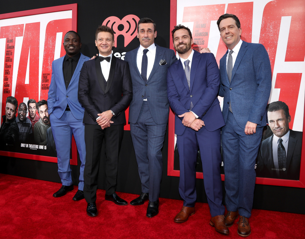 Hannibal Buress, Jeremy Renner, Jon Hamm, Jake Johnson and Ed Helms attend the Premiere Of Warner Bros. Pictures And New Line Cinema's