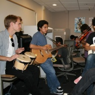 Alan Hoffmann, Eduardo Cervantes, Roman Valladares, Phil Campos and Alex Mendez participate in a Teen Jam Sessions program at the Santa Ana Public Library. The library's TeenSpace after-school program is a 2014 winner of the National Arts and Humanities Youth Program Award presented by the First Lady.